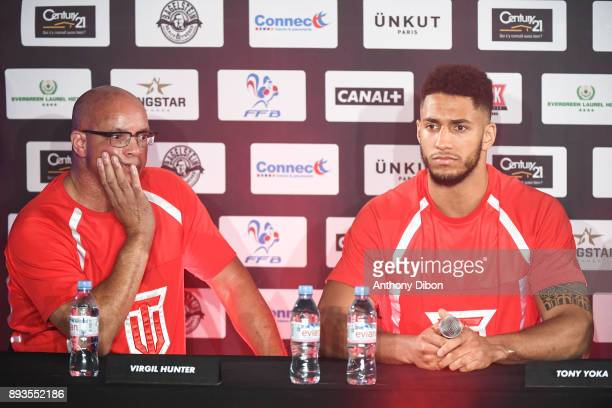 Virgil Hunter and Tony Yoka during press conference ahead the fight against Ali Baghouz on December 15 2017 in BoulogneBillancourt France