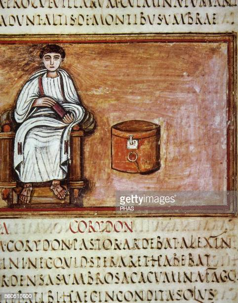 Virgil Latin poet Virgilio next to a roll container Manuscript 5th6th centuries Folio 3v Vatican Apostolic Library