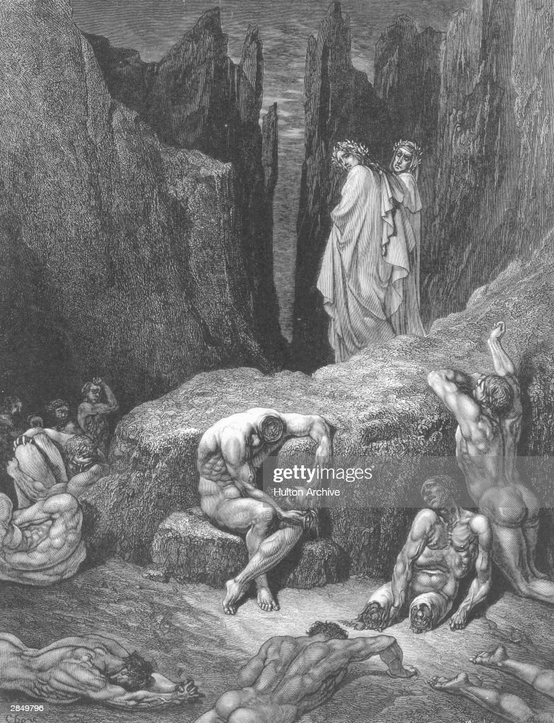Virgil leads the author past a group of wretched souls contemplating their missing limbs and heads. An engraving by Gustave Dore, illustrating Canto XXIX of Dante's Inferno, written circa 1310.
