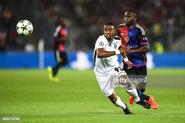Virgil Misidjan of Ludogorets and Adama Traore of Basel during the Uefa Champions League match between Basel Fc and PFC Ludogorets Razgrad on...