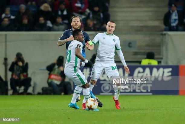 Virgil Misidjan of Ludogorets Jacek Goralski of Ludogorets and Eugen Polanski of Hoffenheim battle for the ball during the UEFA Europa League group C...