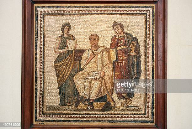Virgil seated between Clio and Melpomene muses who inspire him Aeneid mosaic from Sousse Tunisia Roman Civilization 3rd4th century Tunis Musée...