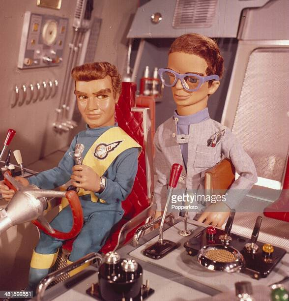 1968 'Virgil Tracy' and 'Brains' pictured in a scene from the television series 'Thunderbirds' first broadcast in 1965