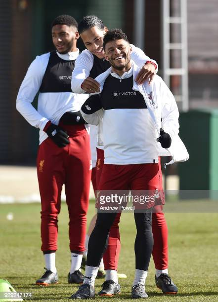 Virgil van Dijk and Alex OxladeChamberlain of Liverpool during a training session at Melwood Training Ground on March 8 2018 in Liverpool England