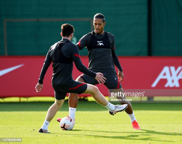 Virgil van Dijk and Andy Robertson of Liverpool during a training session at Melwood Training Ground on September 18 2020 in Liverpool England