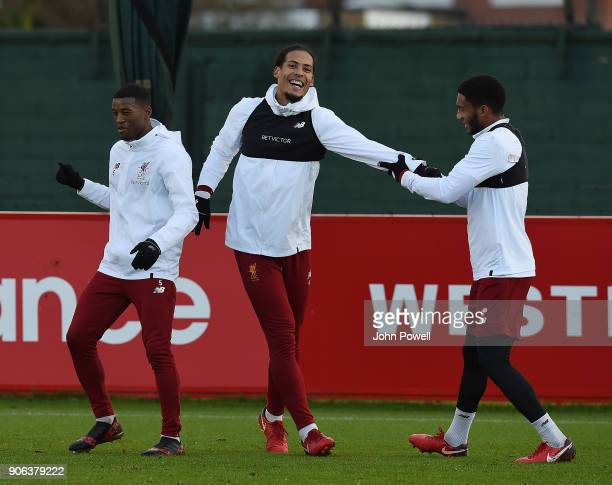Virgil van Dijk and Joe Gomez of Liverpool during a training session at Melwood Training Ground on January 18 2018 in Liverpool England