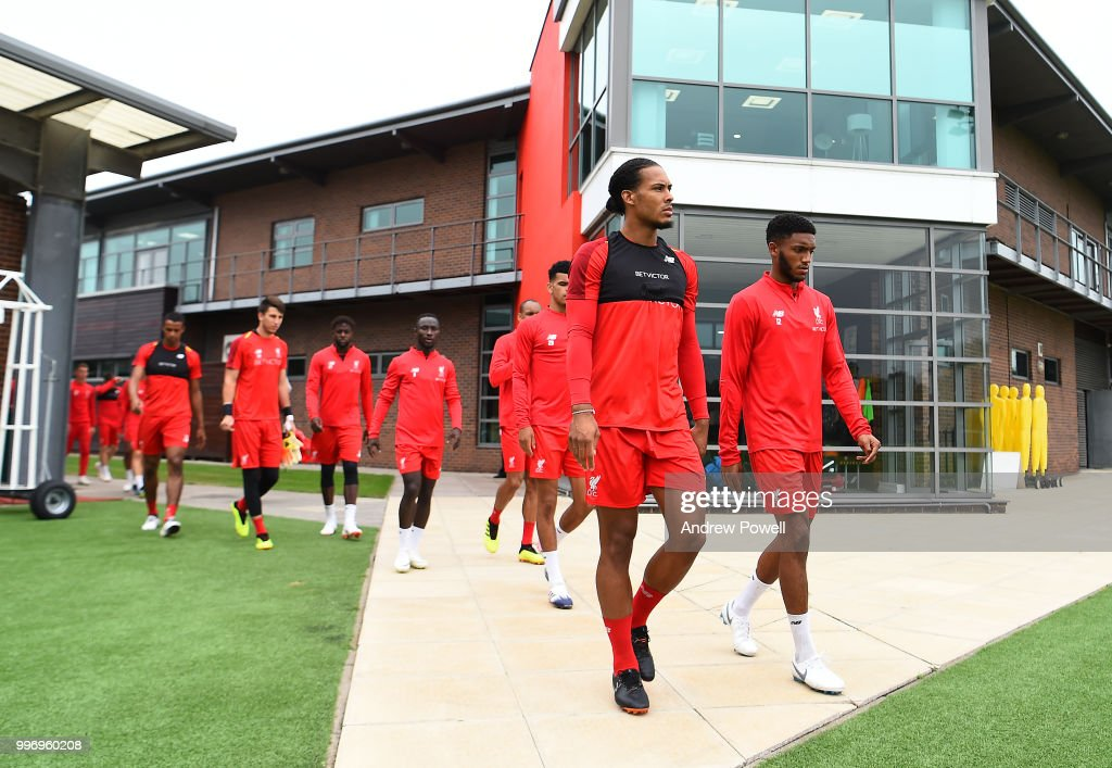 Virgil van Dijk and Joe Gomez of Liverpool during a training session at Melwood Training Ground on July 12, 2018 in Liverpool, England.
