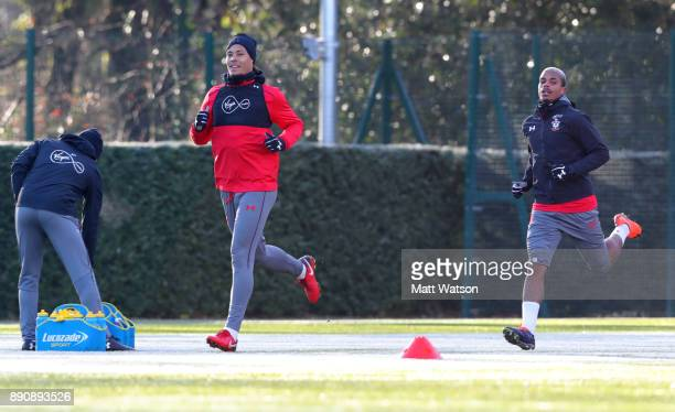 Virgil Van Dijk and Mario Lemina during a Southampton FC training session at the Staplewood Campus on December 12 2017 in Southampton England