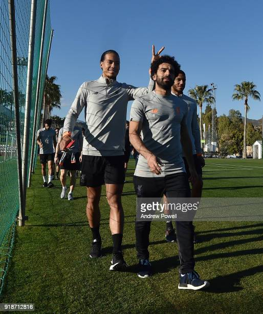 Virgil van Dijk and Mohamed Salah of Liverpool during a training session at the Marbella Football Center on February 15 2018 in Marbella Spain