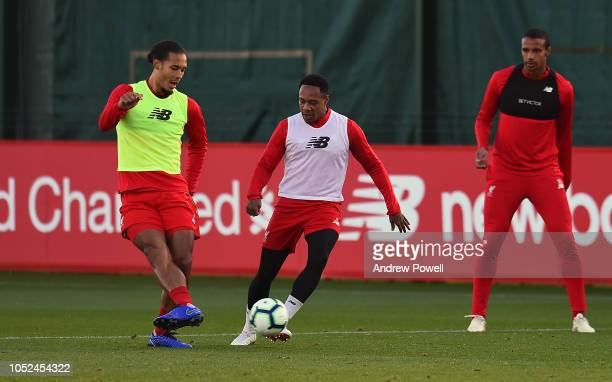 Virgil van Dijk and Nathaniel Clyne of Liverpool during a training session at Melwood Training Ground on October 18 2018 in Liverpool England