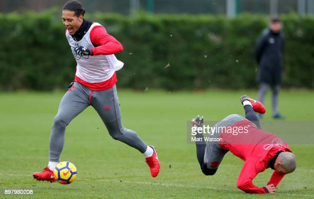 Virgil Van Dijk and Oriol Romeu during a Southampton FC training session at the Staplewood Campus on December 24 2017 in Southampton England