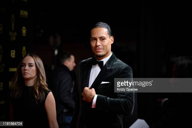 Virgil van Dijk arrives to the red carpet with his wife Rike Nooitgedagt during the Ballon D'Or Ceremony at Theatre Du Chatelet on December 02, 2019...