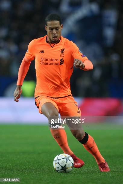 Virgil Van Dijk defender of Liverpool in action during the UEFA Champions League match between FC Porto and Liverpool at Dragao Stadium in Porto on...
