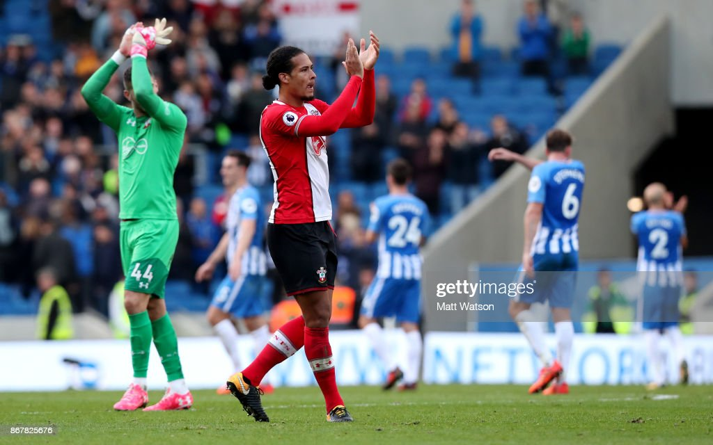 Virgil Van Dijk during the Premier League match between Brighton and Hove Albion and Southampton at the Amex Stadium on October 28, 2017 in Brighton, England.