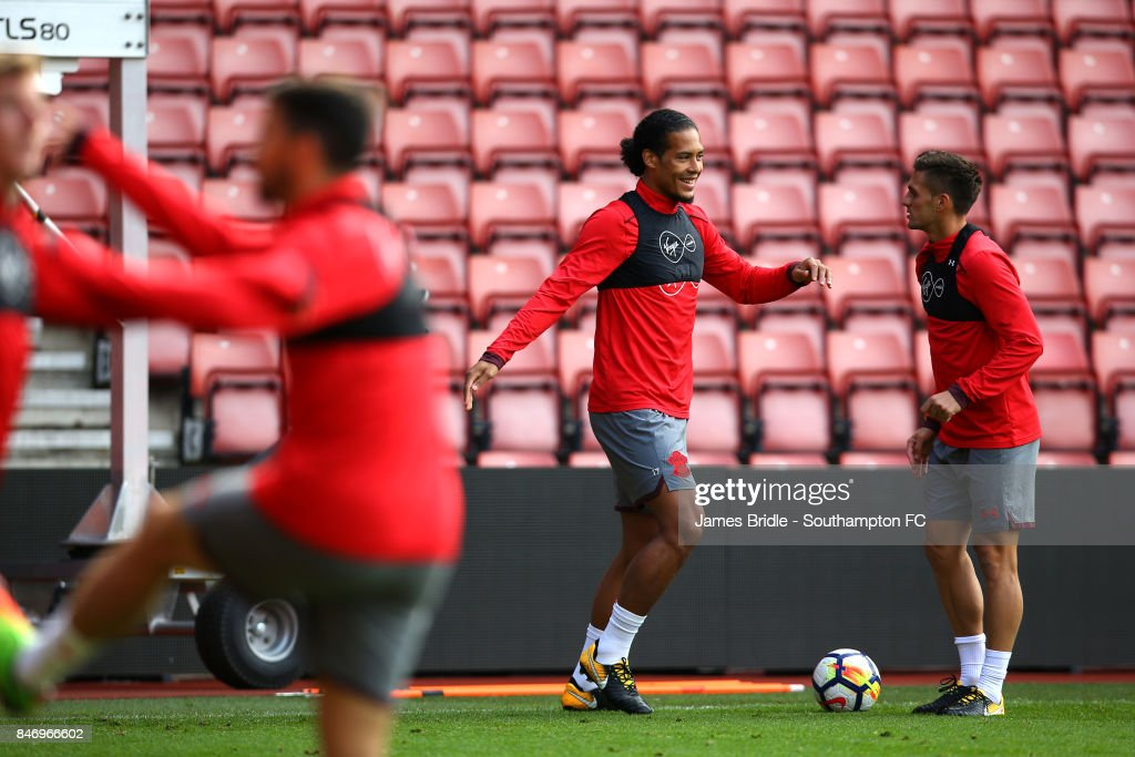 Virgil Van Dijk (left) Dusan Tadic (right) during a Southampton FC training session at St Mary's Stadium on September 14, 2017 in Southampton, England.