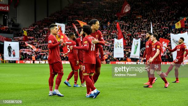 Virgil van Dijk embracing Mohamed Salah of Liverpool before the Premier League match between Liverpool FC and Southampton FC at Anfield on February...
