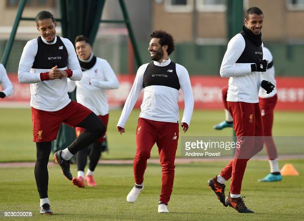 Virgil van Dijk Mohamed Salah and joel Matip of Liverpool during a training session at Melwood Training Ground on February 22 2018 in Liverpool...