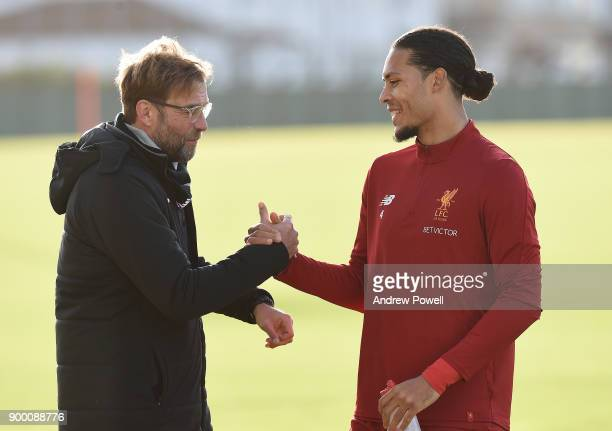 Virgil van Dijk new signing of Liverpool with Jurgen Klopp manager of Liverpool at Melwood Training Ground on December 31 2017 in Liverpool England
