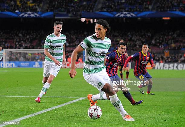 Virgil van Dijk of Celtic FC in action during the UEFA Champions League Group H match between FC Barcelona and Celtic FC at the Camp Nou Stadium on...