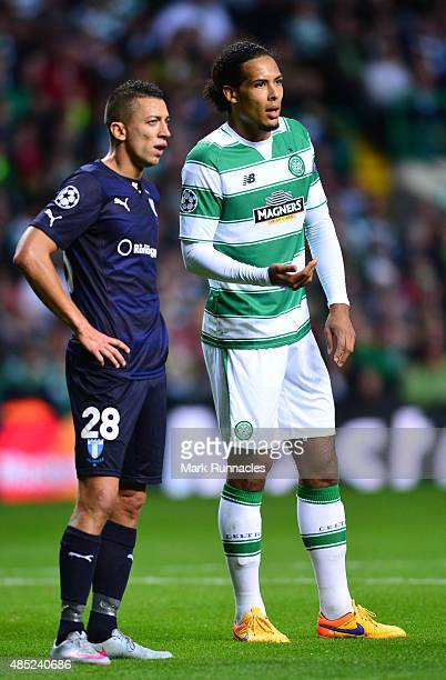 Virgil van Dijk of Celtic in action during the UEFA Champions League Qualifying play off first leg match between Celtic FC and Malmo FF at Celtic...