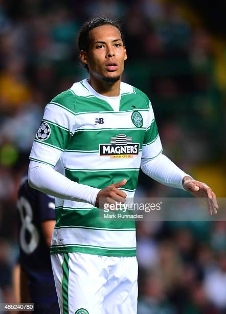 Virgil van Dijk of Celtic in action during the UEFA Champions League Qualifying play off first leg match, between Celtic FC and Malmo FF at Celtic...