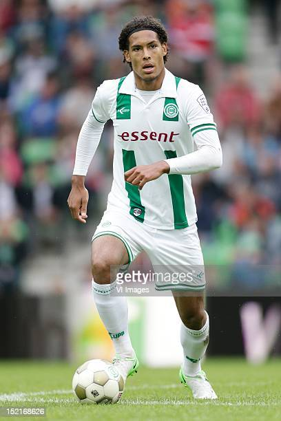 Virgil van Dijk of FC Groningen during the Dutch Eredisivie match between FC Groningen and Vitesse Arnhem at the Euroborg Stadium on September 16...