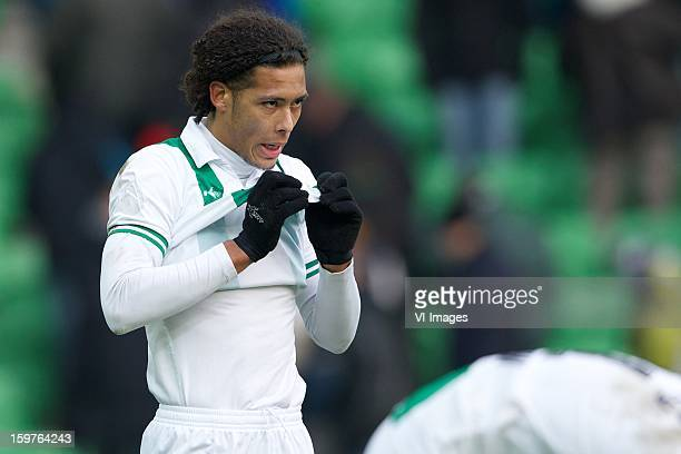 Virgil van Dijk of FC Groningen during the Dutch Eredivise match between FC Groningen and FC Utrecht at the Euroborg on January 20 2013 in Groningen...