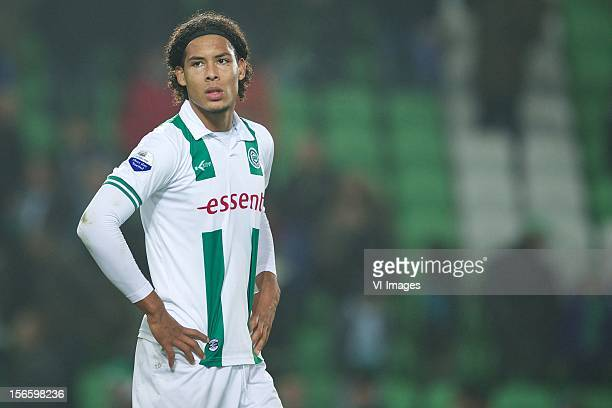 Virgil van Dijk of FC Groningen during the Dutch Eredivisie match between FC Groningen and AZ Alkmaar at the Euroborg on November 17 2012 in...