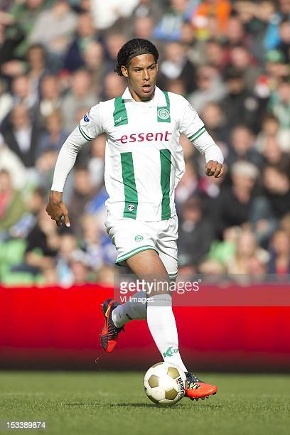 Virgil van Dijk of FC Groningen during the Eredivisie match between FC Groningen and Roda JC at the Euroborg stadium on September 30 2012 in...