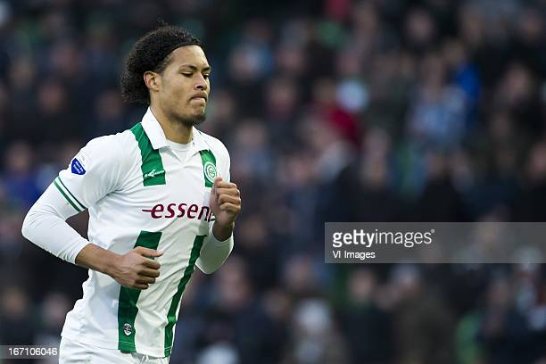 Virgil van Dijk of FC Groningen during the Eredivisie match between FC Groningen and ADO Den Haag on April 20 2013 at the Euroborg stadium at...