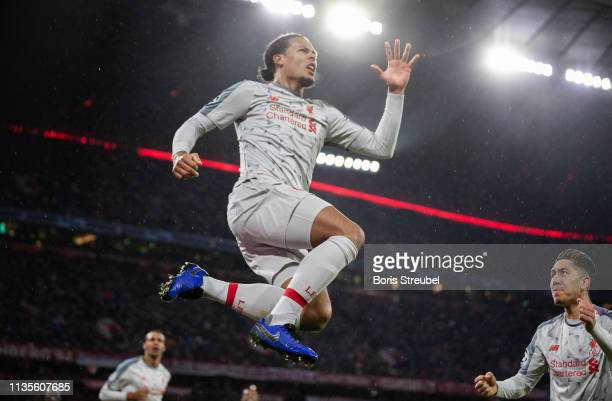 Virgil Van Dijk of FC Liverpool celebrates after scoring his team's second goal during the UEFA Champions League Round of 16 Second Leg match between...