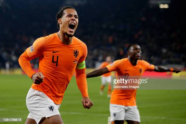 Virgil van Dijk of Holland celebrates 22 during the UEFA Nations league match between Germany v Holland at the Veltins Arena on November 19 2018 in...