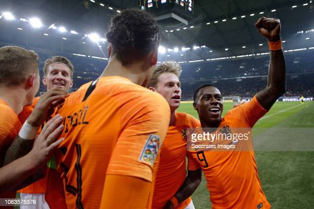 Virgil van Dijk of Holland celebrates 22 with Luuk de Jong of Holland Frenkie de Jong of Holland Quincy Promes of Holland during the UEFA Nations...
