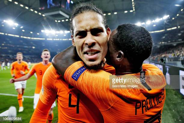 Virgil van Dijk of Holland celebrates 22 with Quincy Promes of Holland during the UEFA Nations league match between Germany v Holland at the Veltins...