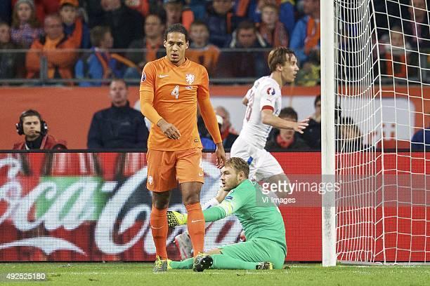 Virgil van Dijk of Holland goalkeeper Jeroen Zoet of Holland Josef Sural of Czech Republik during the EURO 2016 qualifying match between Netherlands...