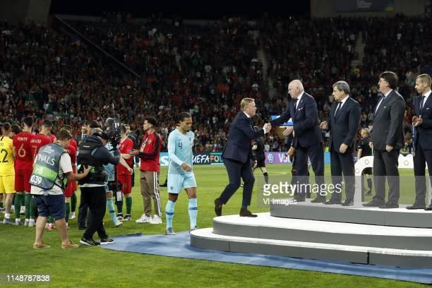 Virgil van Dijk of Holland, Holland coach Ronald Koeman, KNVB chairman Michael van Praag during the UEFA Nations League final match between Portugal...