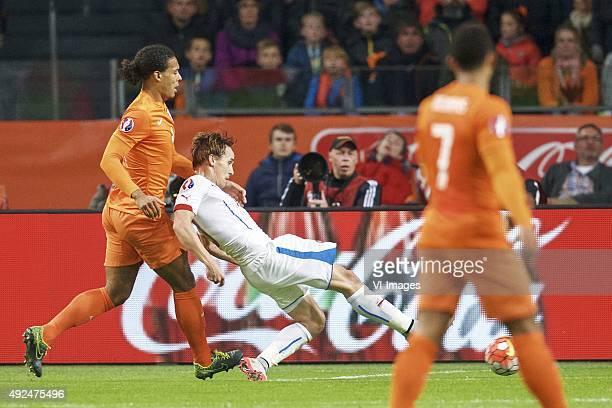 Virgil van Dijk of Holland Josef Sural of Czech Republik 02 during the EURO 2016 qualifying match between Netherlands and Czech Republic on October...