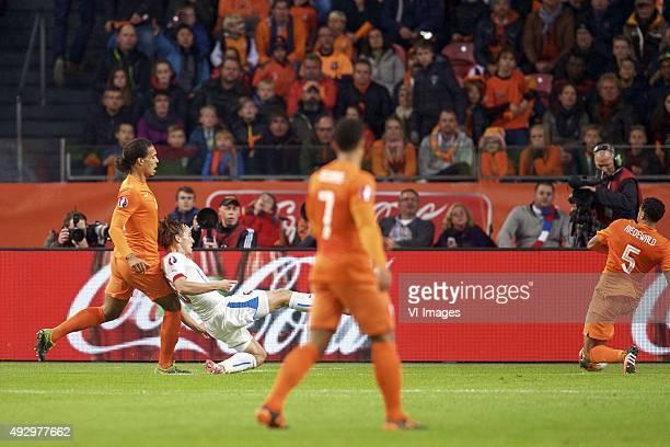 Virgil van Dijk of Holland Josef Sural of Czech Republik Memphis Depay of Holland Jairo Riedewald of Holland 02 during the EURO 2016 qualifying match...