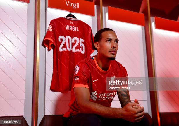 Virgil van Dijk of Liverpool after signing a new contact for Liverpool Football Club at Anfield on August 13, 2021 in Kirkby, England.