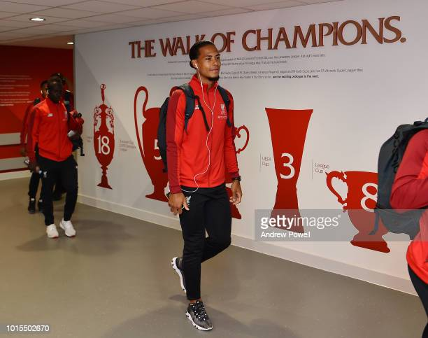 Virgil van Dijk of Liverpool arrives before the Premier League match between Liverpool FC and West Ham United at Anfield on August 12 2018 in...