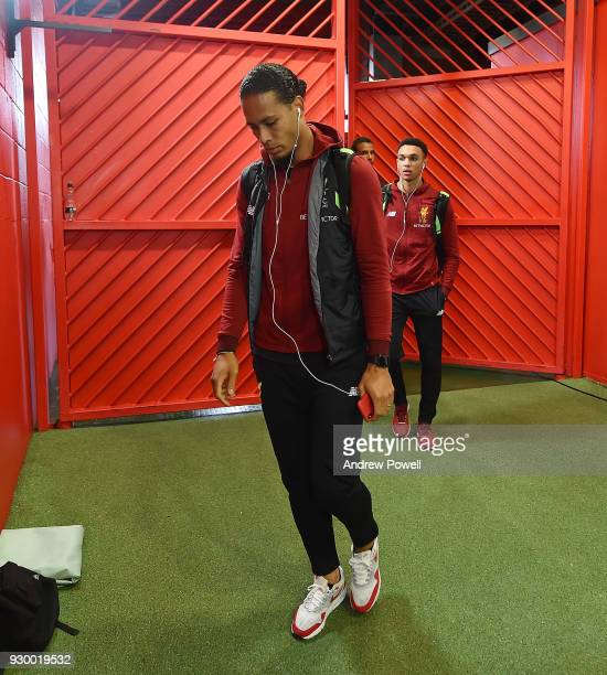 Virgil van Dijk of Liverpool arrives before the Premier League match between Manchester United and Liverpool at Old Trafford on March 10 2018 in...