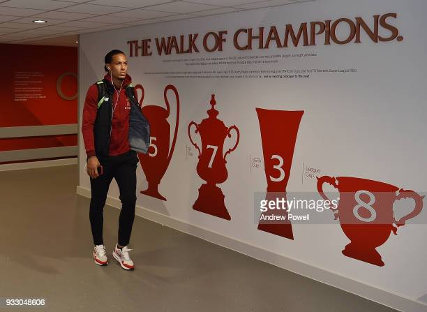 Virgil van Dijk of Liverpool arrives before the Premier League match between Liverpool and Watford at Anfield on March 17 2018 in Liverpool England