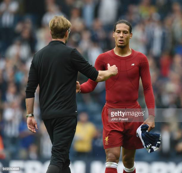 Virgil van Dijk of Liverpool at the end of the Premier League match between West Bromwich Albion and Liverpool at The Hawthorns on April 21 2018 in...