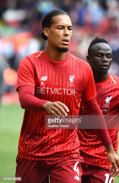 Virgil Van Dijk of Liverpool before the Premier League match between Liverpool FC and West Ham United at Anfield on August 12 2018 in Liverpool...