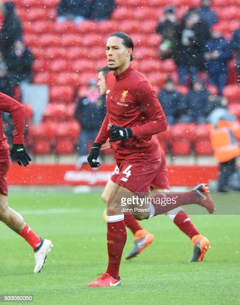 Virgil Van dijk of Liverpool before the Premier League match between Liverpool and Watford at Anfield on March 17 2018 in Liverpool England