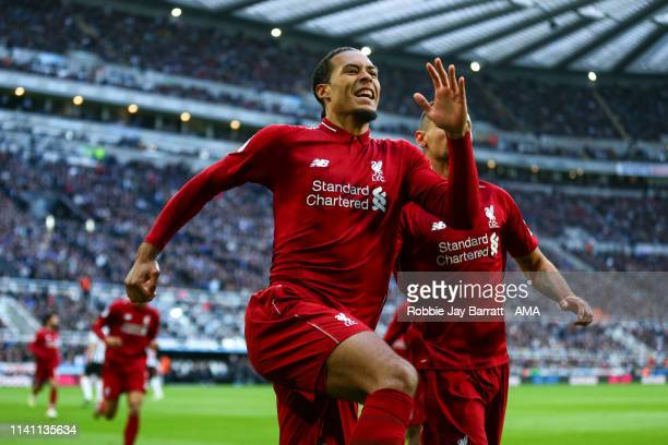 Virgil van Dijk of Liverpool celebrates after scoring a goal to make it 01 during the Premier League match between Newcastle United and Liverpool FC...
