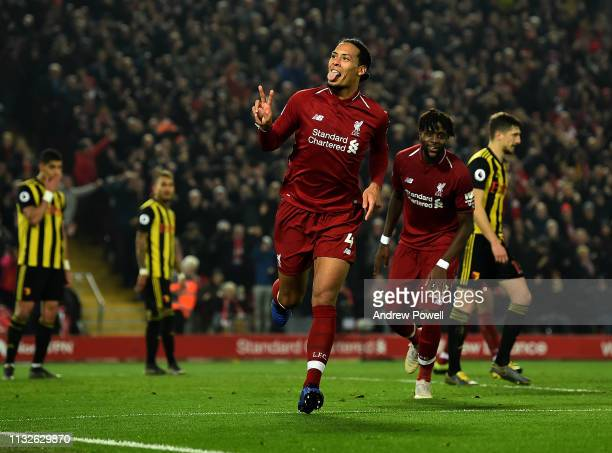 Virgil van Dijk of Liverpool celebrates after scoring during the Premier League match between Liverpool FC and Watford FC at Anfield on February 27...