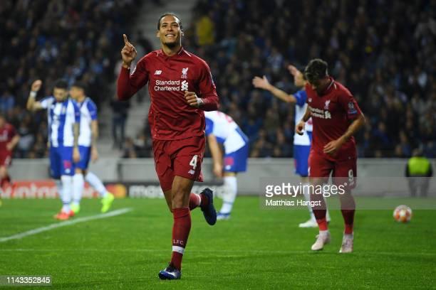 Virgil van Dijk of Liverpool celebrates after scoring his team's fourth goal during the UEFA Champions League Quarter Final second leg match between...
