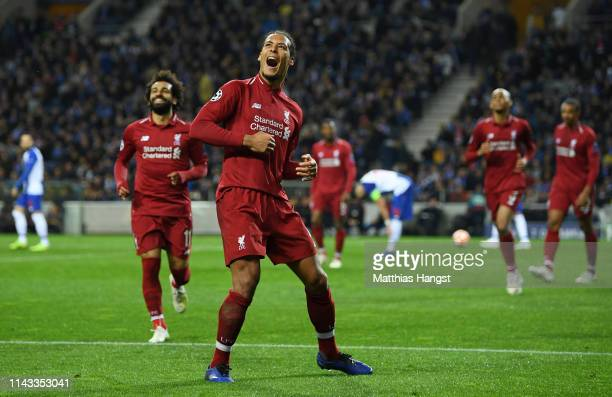 Virgil van Dijk of Liverpool celebrates after scoring his team's fourth goal during the UEFA Champions League Quarter Final second leg match between...