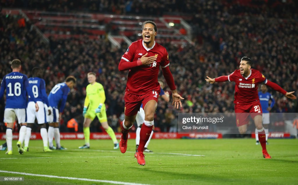 Virgil van Dijk of Liverpool celebrates as he scores their second goal during the Emirates FA Cup Third Round match between Liverpool and Everton at Anfield on January 5, 2018 in Liverpool, England.